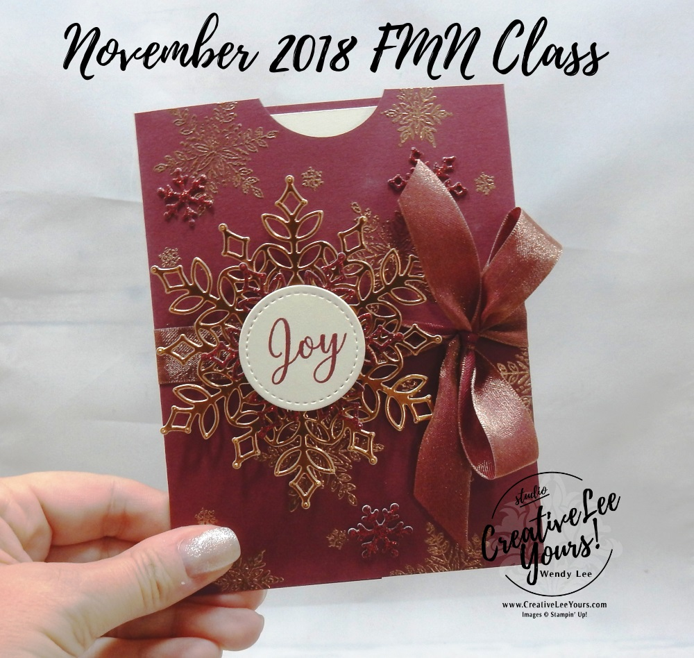 Blizzard Of Joy Gift Card Holder by wendy lee, November 2018 FMN Class, Forget me not, Stampin Up, stamping, handmade card, holiday, christmas, #creativeleeyours, creatively yours, creative-lee yours, SU, SU cards, rubber stamps, paper crafting, Snow is Glistening stamp set, Merry Christmas, Happy Holidays, DIY, card club, snowflake, copper, pocket card