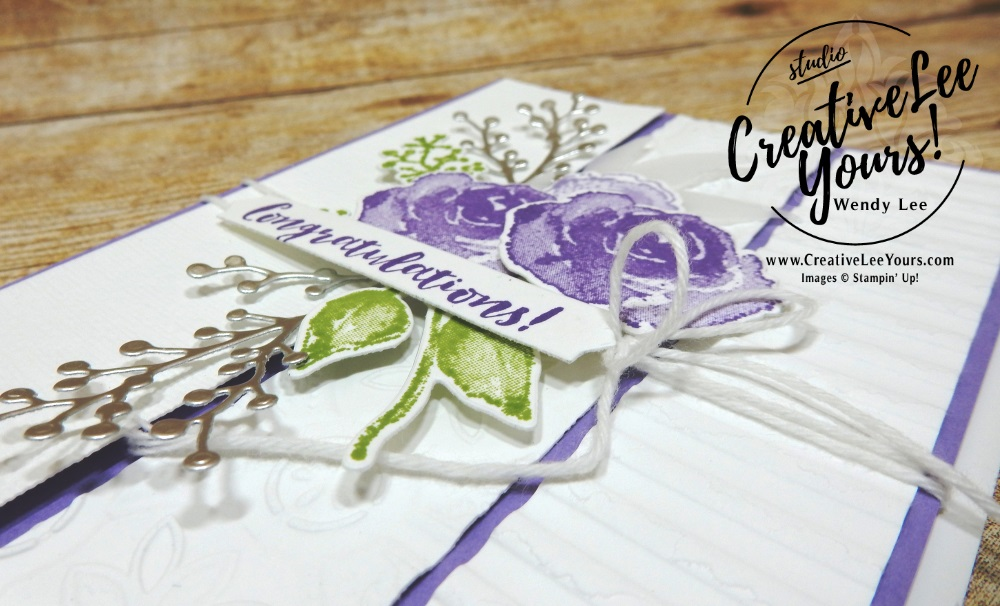 Textured Congratulations by wendy lee, Diemonds Team, Stampin Up, #creativeleeyours, creatively yours, creative-lee yours, SU, business opportunity, make extra money, DIY, paper craft, firdt frost stamp set, Onstage swap, congrats, congratulations, wedding, birthday, #OnStage2018, #StampinUp30, stamp event, flowers, purple