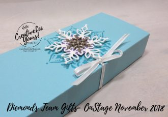 Snowflake Gift Box by wendy lee, Printable Tutorial, DiemondsTeam, Stampin Up, #creativeleeyours, creatively yours, creative-lee yours, SU, business opportunity, make extra money, DIY, paper craft, limited time, exclusive, snowflake showcase, snow is glistening stamp set, happiness surrounds stamp set, snowfall thinlits, snowflakes, Onstage team gifts, gift box,#OnStage2018, #StampinUp30, stamp event