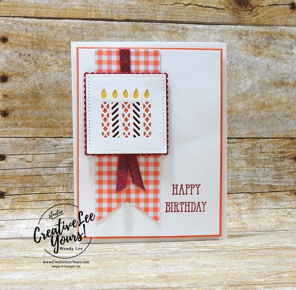 Gingham Birthday, wendy lee, Stampin Up, stamping, handmade card, friend, thank you, birthday, #creativeleeyours, creatively yours, creative-lee yours, SU, SU cards, rubber stamps, demonstrator, Greek Isles Achievers Blog Hop, business, DIY, incentive trip, occasions sneak peak, well said stamp set, cling stamps, candles