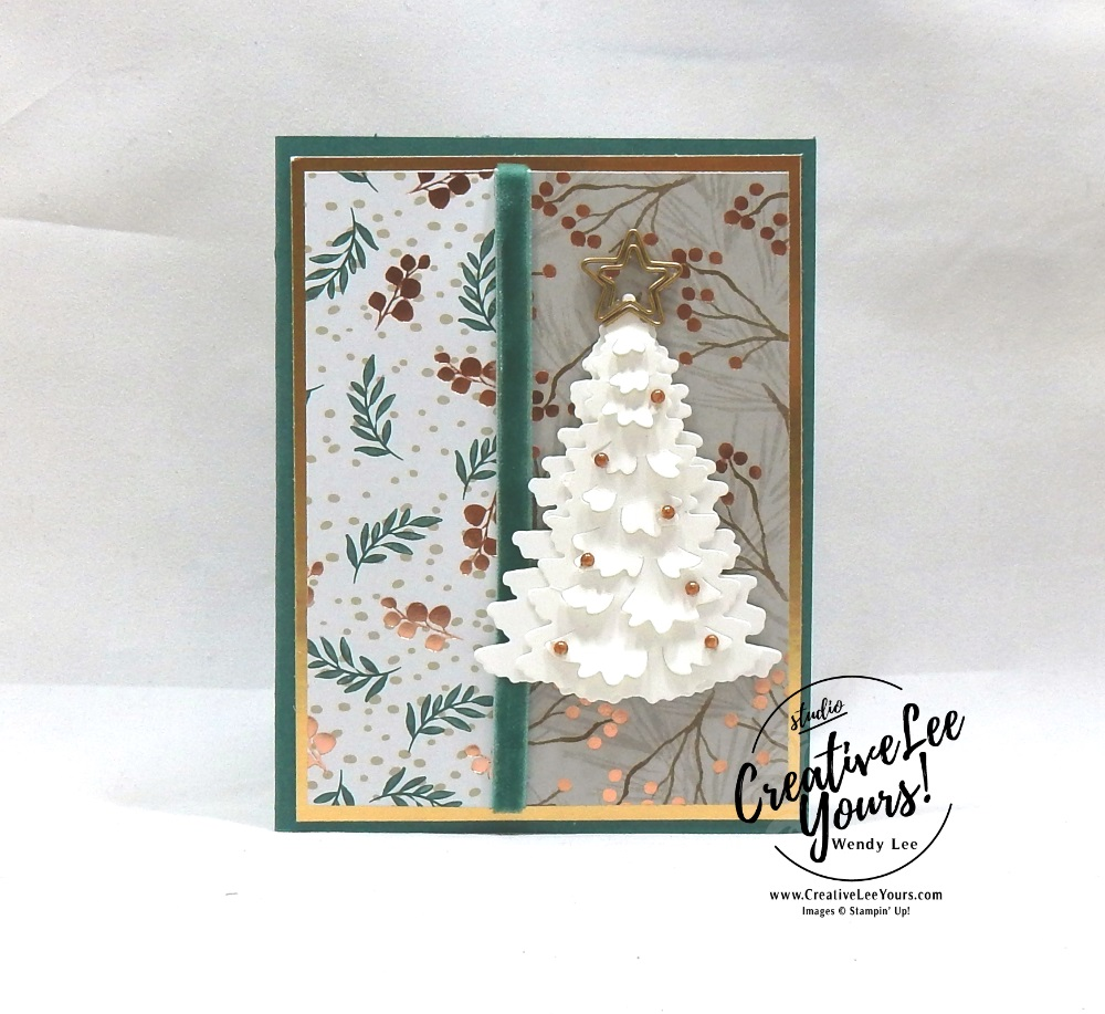 Christmas Warmth by Betsy Batten, wendy lee, Stampin Up, stamping, handmade card, #creativeleeyours, creatively yours, creative-lee yours, diemonds team, timeless tidings stamp set, SU, SU cards, rubber stamps, demonstrator, DIY, tree, christmas, in the woods framelit dies