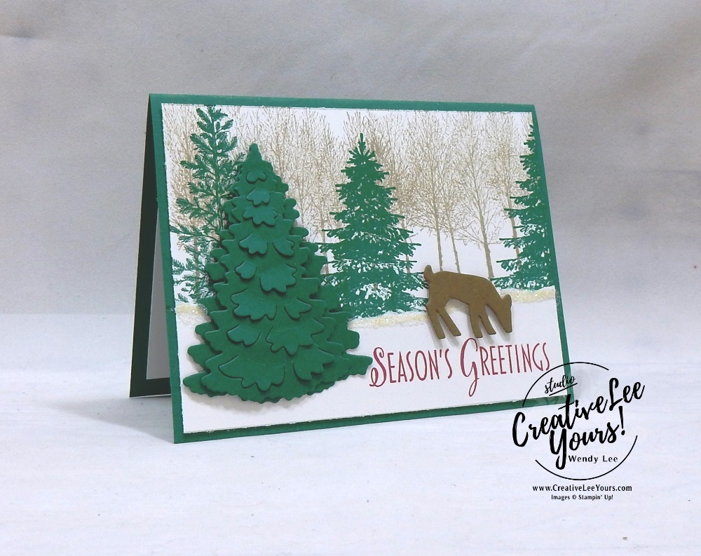 Season's Greetings by Betsy Batten, wendy lee, Stampin Up, stamping, handmade card, #creativeleeyours, creatively yours, creative-lee yours, diemonds team, winter woods stamp set, stylish christmas stamp set, timeless tidings stamp set, SU, SU cards, rubber stamps, demonstrator, DIY, christmas card, deer, business opportunity, diemonds team swap