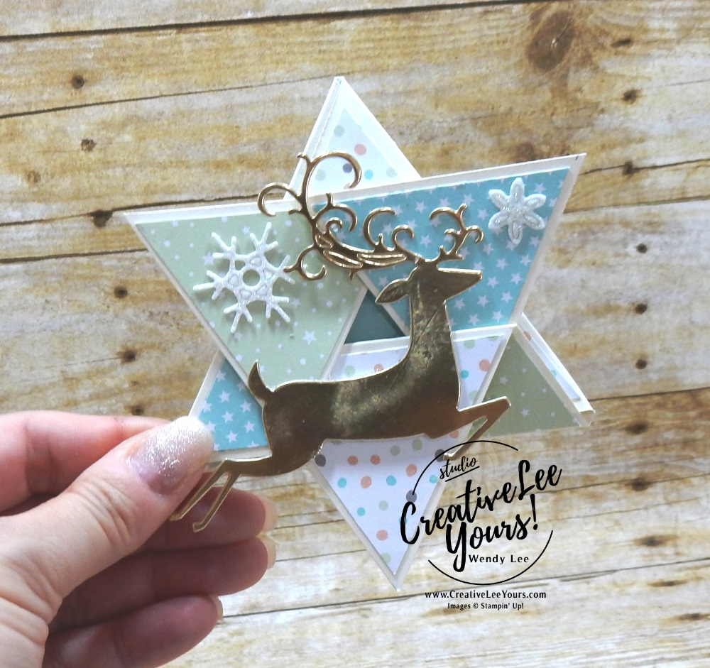 Christmas Star Fun Fold by Carol Curren, wendy lee, Stampin Up, stamping, handmade card, #creativeleeyours, creatively yours, creative-lee yours, diemonds team, seasonal chums stamp set, SU, SU cards, rubber stamps, demonstrator, DIY, christmas card, deer, business opportunity, diemonds team swap, detailed deer