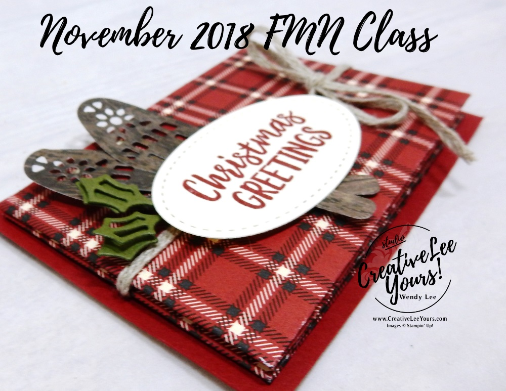 Masculine Plaid Fun Fold Gift Card Holder by wendy lee, November 2018 FMN Class, Forget me not, Stampin Up, stamping, handmade card, holiday, christmas, #creativeleeyours, creatively yours, creative-lee yours, SU, SU cards, rubber stamps, paper crafting, alpine adventure stamp set,Merry Christmas, Happy Holidays, DIY, card club, money holder, gift card, alpine sports thinlit dies, fun fold