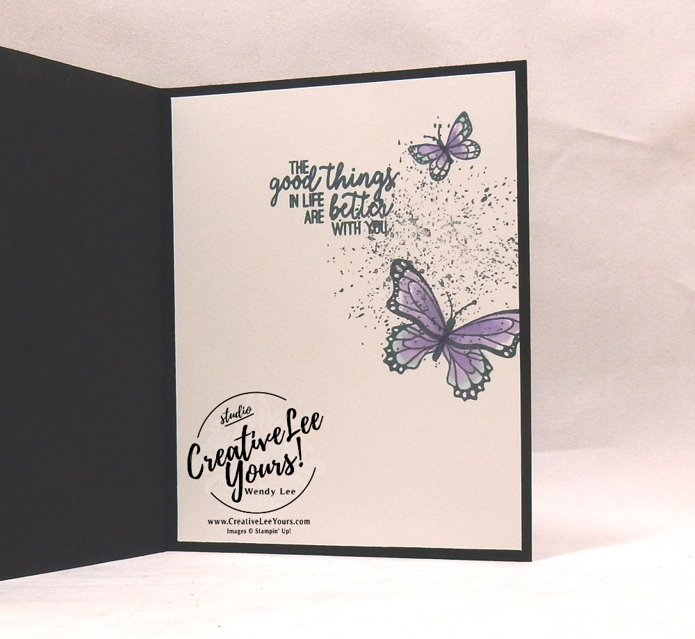 Tufted Note by wendy lee, Stampin Up, stamping, handmade card, friend, thank you, birthday, #creativeleeyours, creatively yours, creative-lee yours, SU, SU cards, rubber stamps, demonstrator, business, DIY, incentive trip, occasions sneak peak, cling stamps, butterfly gala, butterfly punch, black and white, fast & easy, spotlighting, FMN BONUS, tutorial, card club