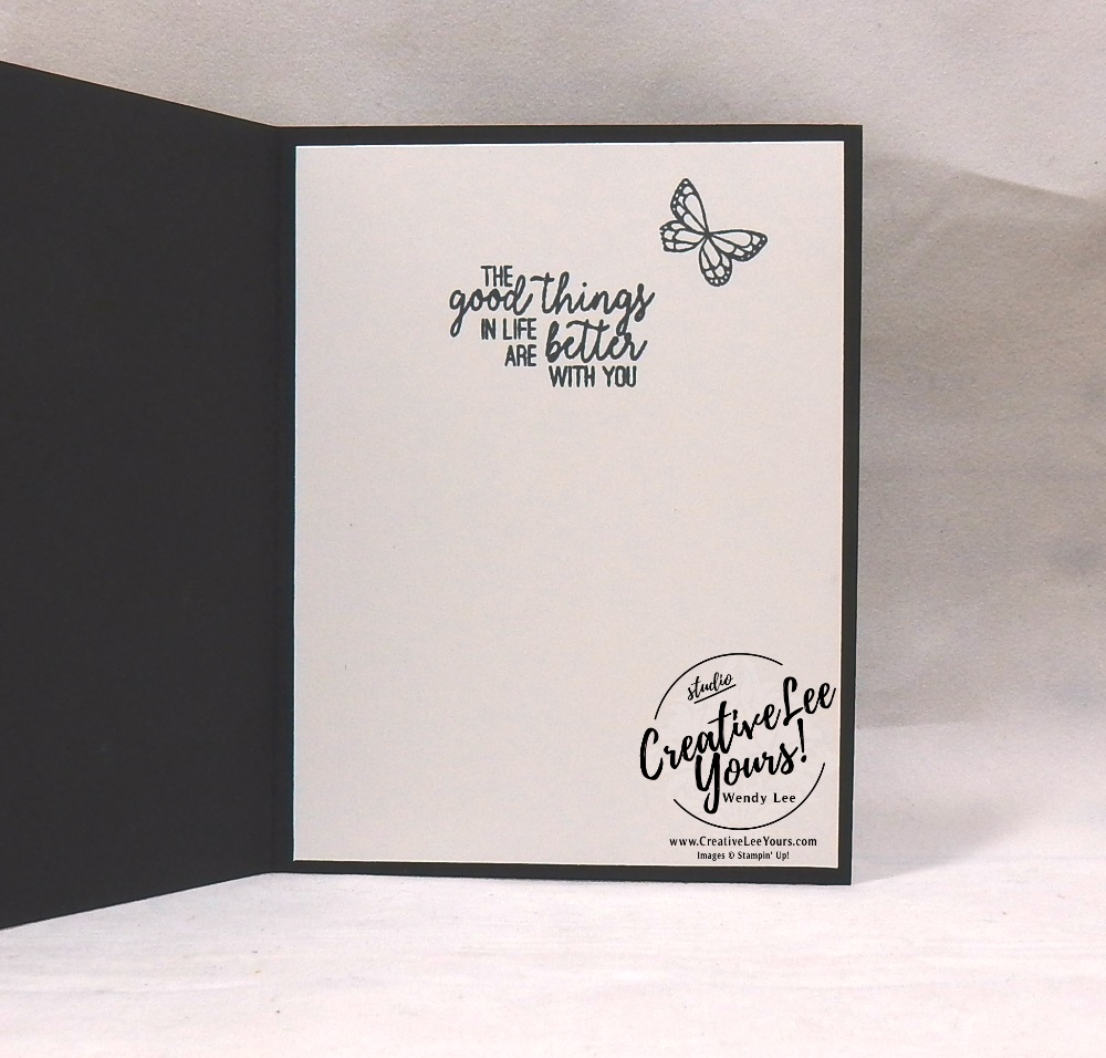 A Quick Little Note by wendy lee, Stampin Up, stamping, handmade card, friend, thank you, birthday, #creativeleeyours, creatively yours, creative-lee yours, SU, SU cards, rubber stamps, demonstrator, business, DIY, occasions sneak peak, cling stamps, #simplestamping, butterfly gala, butterfly punch, black and white, fast & easy, spotlighting