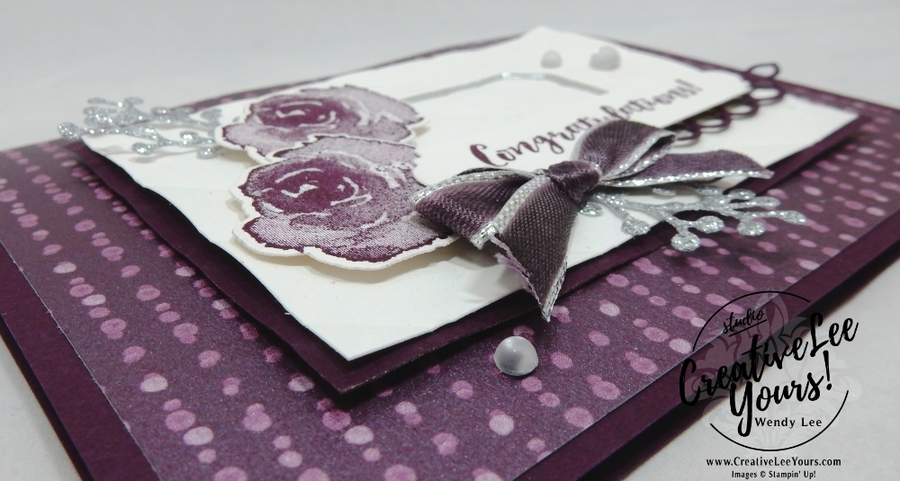 Frosted Congratulations by Wendy Lee, Tutorial, card club, stampin Up, SU, #creativeleeyours, hand made card, thankful, gratitude, congratulations, wedding, anniversary, stamping, creatively yours, creative-lee yours, first frost stamp set, frosted bouquet, DIY, FMN, forget me knot, December 2018, flowers, purple, silver