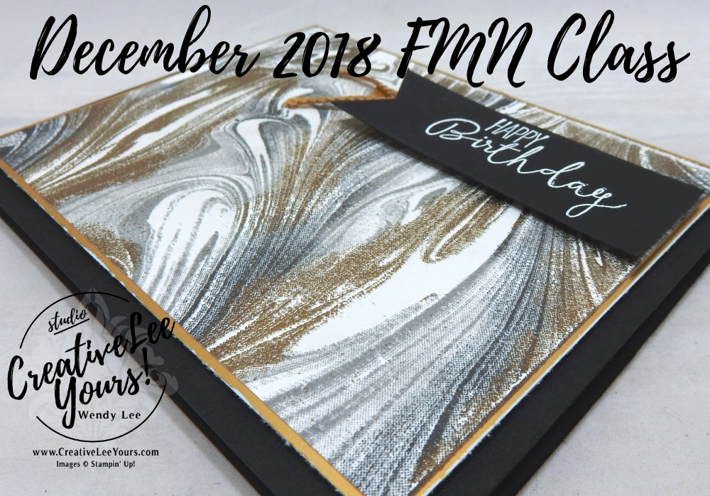 Marbled Birthday by Wendy Lee, Tutorial, card club, stampin Up, SU, #creativeleeyours, hand made card, thankful, gratitude, congratulations, wedding, anniversary, birthday, stamping, creatively yours, creative-lee yours, marbled stamp set, fspecial celebrations stamp set, DIY, FMN, forget me knot, December 2018, masculine, embossing, stamparatus, class