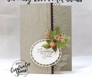Floral Thinking of You by Wendy Lee, Tutorial, card club,stampin Up, SU, #creativeleeyours, hand made card, fun fold, love, anniversary, valentine, stamping, creatively yours, creative-lee yours, wonderful romance stamp set, wonderful floral framelits, DIY, FMN, forget me knot, January 2019, class, be mine stitched framelits