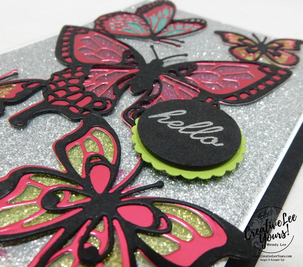 Glitter Stained Glass by Wendy Lee, Tutorial, card club, stampin Up, SU, #creativeleeyours, hand made card, technique, friend, birthday, stamping, creatively yours, creative-lee yours, beauty abounds stamp set, butterfly beauty framelits, DIY, FMN, forget me knot, January 2019, class, blends, card club