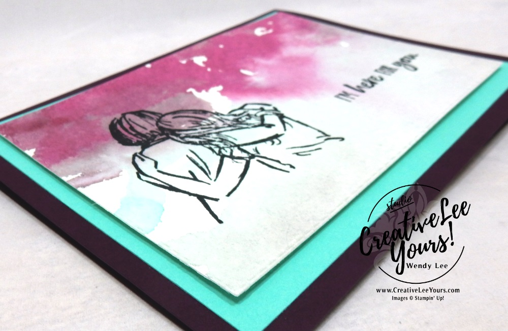 I'm Here For You by Courtney Reisign, wendy lee, Stampin Up, stamping, handmade card, friend, thank you, birthday, thinking of you, support, loss, #creativeleeyours, creatively yours, creative-lee yours, SU, SU cards, rubber stamps, demonstrator, business, DIY, cling stamps, artfully aware stamp set, watercolor, fast & easy, incentive trip, stitched rectangles,diemonds team swap, #simplestamping