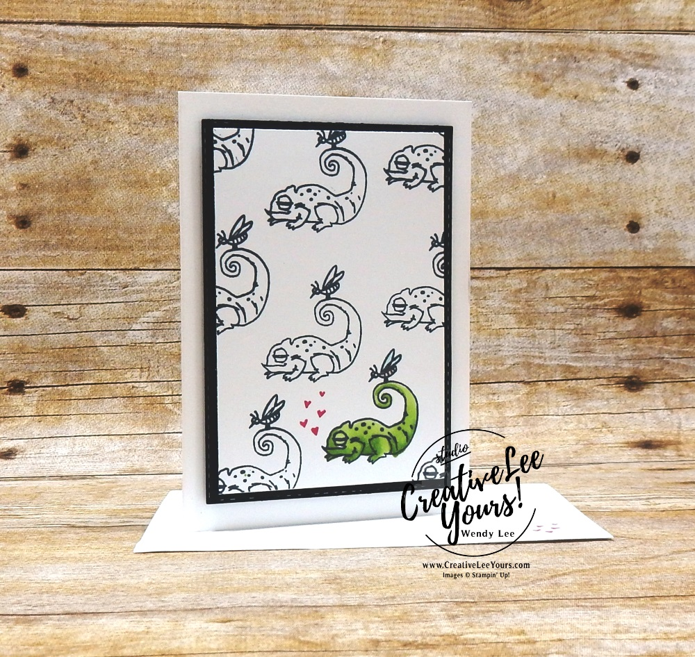 January 2019 Be Mine Valentine Paper Pumpkin Kit, One In A Chameleon by wendy lee, stampin up, handmade cards, rubber stamps, stamping, kit, subscription, #creativeleeyours, creatively yours, creative-lee yours, love, anniversary, alternate, bonus tutorial, fast & easy, DIY, #simplestamping, chameleon, kangaroo, rhino, giraffe, animal, February 2019 FMN class, card club