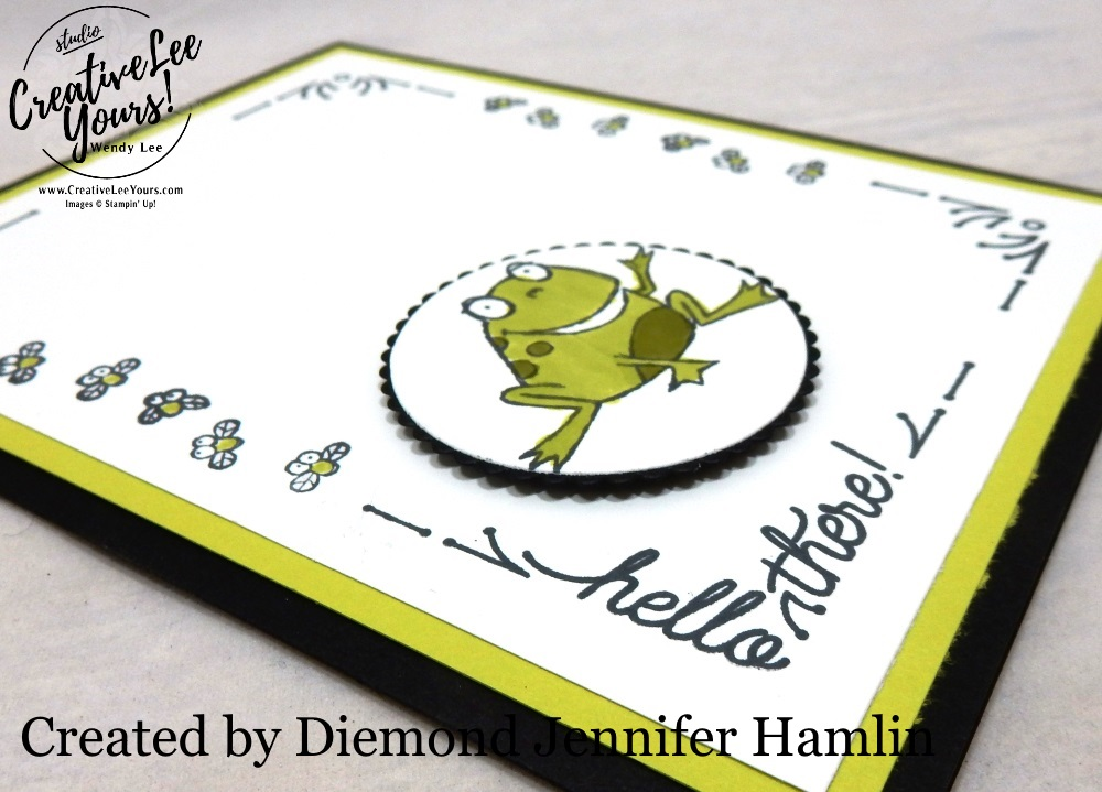 Hello There by Jennifer Hamlin, wendy lee, Stampin Up, stamping, handmade card, friend, thank you, birthday, thinking of you, #creativeleeyours, creatively yours, creative-lee yours, SU, SU cards, rubber stamps, demonstrator, business, DIY, cling stamps, so hoppy together stamp set, around the corner stamp set, fast & easy,  diemonds team swap, #simplestamping