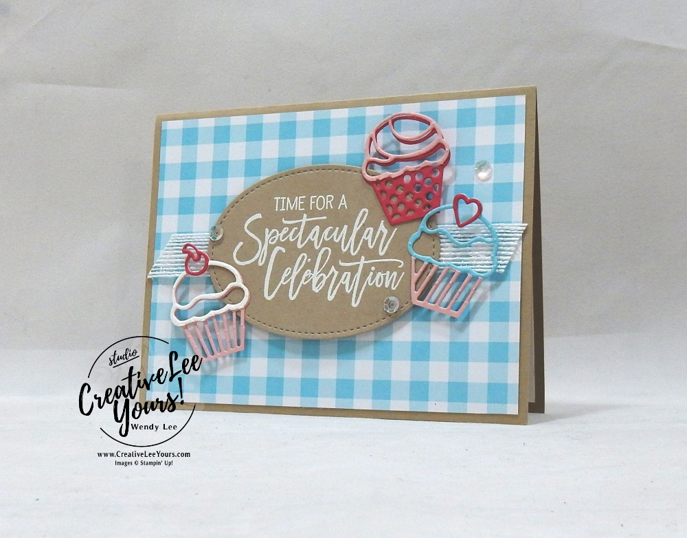 Spectacular Celebrationby wendy lee, Stampin Up, stamping, handmade card, friend, thank you, birthday, #creativeleeyours, creatively yours, creative-lee yours, SU, SU cards, rubber stamps, paper crafting, all occasions, go for greece blog hop, DIY, diemonds team color challenge, birthday cheer stamp set, detailed birthday edgelits, cupcakes