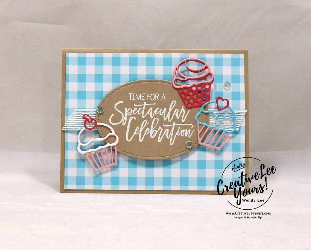 Spectacular Celebration by wendy lee, Stampin Up, stamping, handmade card, friend, thank you, birthday, #creativeleeyours, creatively yours, creative-lee yours, SU, SU cards, rubber stamps, paper crafting, all occasions, go for greece blog hop, DIY, diemonds team color challenge, birthday cheer stamp set, detailed birthday edgelits, cupcakes
