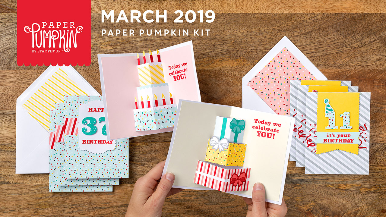 March 2019 Poppin' Birthday Paper Pumpkin Kit by wendy lee, stampin up, handmade cards, rubber stamps, stamping, kit, subscription, #creativeleeyours, creatively yours, creative-lee yours, birthday, pop-up, video, bonus tutorial, fast & easy, DIY, #simplestamping