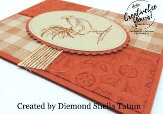 Tin Tile Rooster by Sheila Tatum, wendy lee, Stampin Up, stamping, handmade card, friend, thank you, birthday, thinking of you, #creativeleeyours, creatively yours, creative-lee yours, SU, SU cards, rubber stamps, demonstrator, business, DIY, cling stamps, home to roost stamp set, fast & easy,  diemonds team swap, #simplestamping, rooster, farm animals, buffalo check, masculine