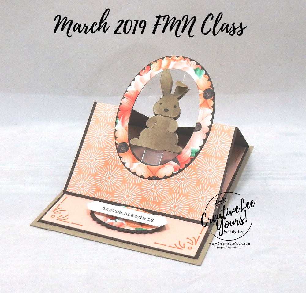 Floating Easel Bunny by Wendy Lee, Tutorial, card club, stampin Up, SU, #creativeleeyours, hand made card, friend, fun fold, stamping, creatively yours, creative-lee yours, foxy friends stamp set, itty bitty greetings stamp set, SAB, DIY, FMN, forget me knot, March 2019, class, Sale-a-bration, bunny builder punch, painted seasons