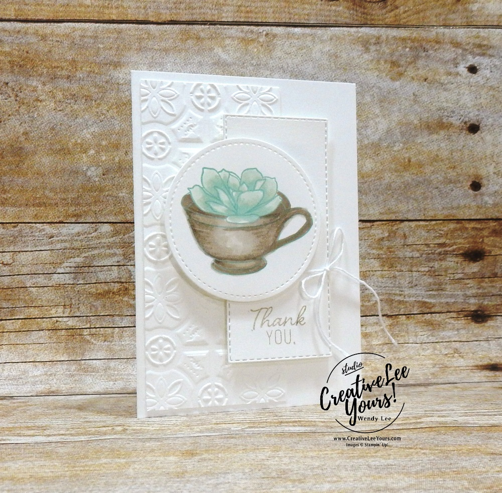 Simple Thank You by Wendy Lee, February 2019 Grown With Kindness Paper Pumpkin Kit , stampin up, handmade cards, rubber stamps, stamping, kit, subscription, #creativeleeyours, creatively yours, creative-lee yours, succulents, bonus tutorial, fast & easy, DIY, #simplestamping, blends