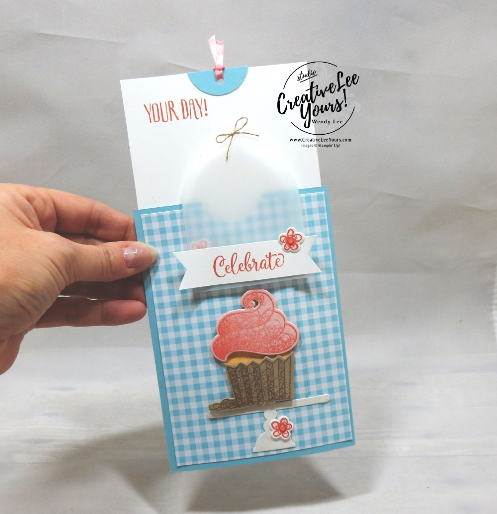 Celebrate Slider by wendy lee, Stampin Up, stamping, handmade card, friend, thank you, birthday, #creativeleeyours, creatively yours, creative-lee yours, SU, SU cards, rubber stamps, paper crafting, all occasions, go for greece blog hop, DIY,  hello cupcake stamp set, call me cupcake, cupcakes, FMN bonus tutorial, card club, fun fold, slider