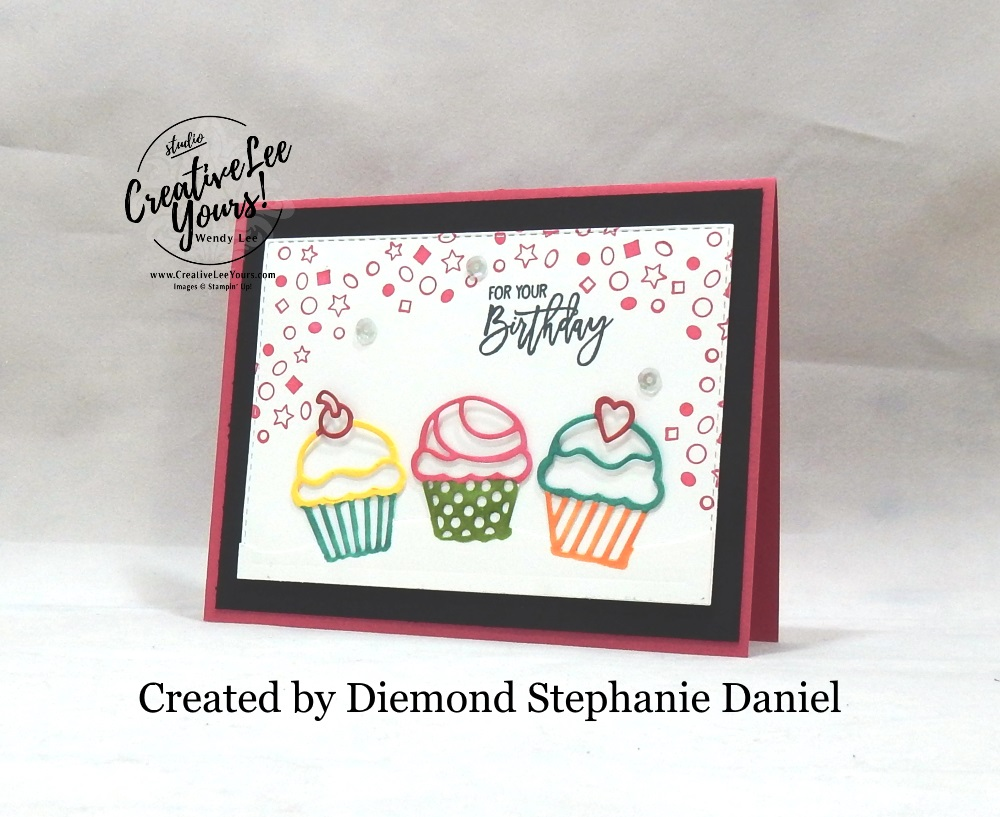 Birthday Cupcakes by Stephanie Daniel, Wendy lee, Stampin Up, stamping, handmade card, friend, thank you, birthday, #creativeleeyours, creatively yours, creative-lee yours, SU, SU cards, rubber stamps, paper crafting, all occasions, DIY, diemonds team swap, birthday cheer stamp set, detailed birthday edgelits, cupcakes, confetti, business opportunity