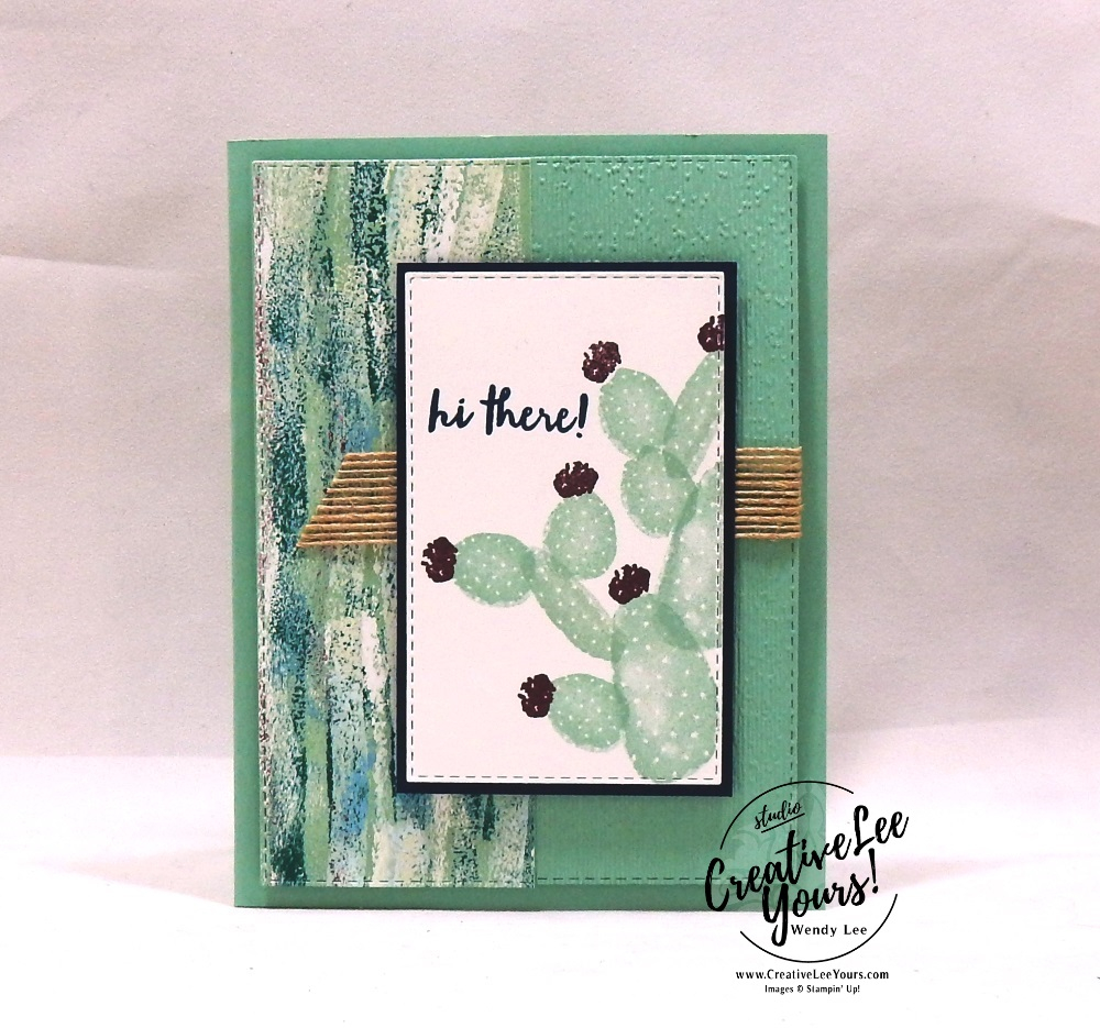Flowering Desert Card Class , You're Awesome by wendy lee, Stampin Up, #creativeleeyours, wendy lee, creatively yours, creative-lee yours, stamping, paper crafting, handmade, fast & easy all occasion cards, class, friend, flowering desert stamp set, faux suede technique, pattern paper, #loveitchopit, international highlights, kylie bertucci, card contest, cactus, encouragement, friend, awesome, winners hop, one sheet wonder