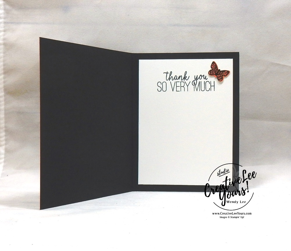 Floating Frame Note by Wendy Lee, Tutorial, card club, stampin Up, SU, #creativeleeyours, hand made card, technique, friend, birthday, hello, sympathy, thanks, stamping, creatively yours, creative-lee yours, butterfly gala stamp set, stitched rectangle, butterfly duet punch, DIY, FMN, forget me knot, April 2019, class, card club, butterflies, teacher, secretary, mothers day, embossing, polished stone, kylie bertucci, demonstrator training, blog hop