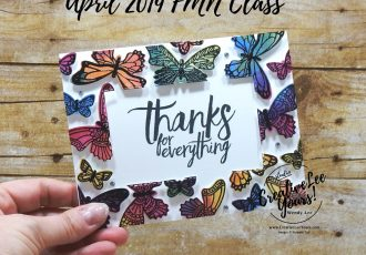 Floating Frame Thanks by Wendy Lee, Tutorial, card club, stampin Up, SU, #creativeleeyours, hand made card, technique, friend, birthday, hello, sympathy, stamping, creatively yours, creative-lee yours, butterfly gala stamp set, stitched rectangle, butterfly duet punch, DIY, FMN, forget me knot, April 2019, class, card club, butterflies, teacher, secretary, mothers day, embossing, polished stone