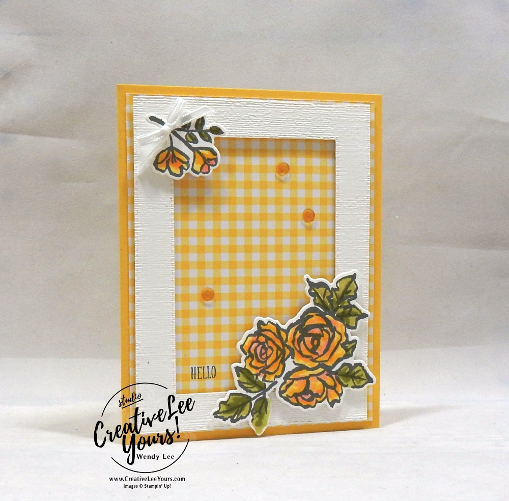 Framed Roses Hello by Wendy Lee, Tutorial, card club, stampin Up, SU, #creativeleeyours, hand made card, technique, friend, birthday, hello, sympathy, stamping, creatively yours, creative-lee yours, petal palette stamp set, DIY, class, flowers, teacher, secretary, mothers day