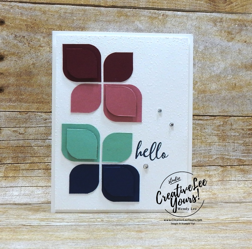 Hello by wendy lee, Stampin Up, #creativeleeyours, creatively yours, creative-lee yours, stamping, paper crafting, handmade, all occasion cards, class, friend, to a wild rose stamp set, embossing, DSP, patternpaper,watercoloring, white card
