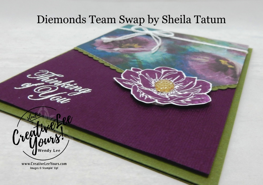 Floral Essence Thinking of You by sheila tatum, wendy lee, Stampin Up, #creativeleeyours, creatively yours, creative-lee yours, stamping, paper crafting, handmade, all occasion cards, class, friend, floral essence stamp set, good morning magnolia stamp set, diemonds team swap, embossing, flowers, DSP, patternpaper, perennial essence