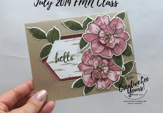 Hello Wild Rose by Wendy Lee, Tutorial, card club, stampin Up, SU, #creativeleeyours, hand made card, technique, 2 step stamping, roses, friend, birthday, hello, thanks, flowers, celebration, birthday, stamping, creatively yours, creative-lee yours, To A Wild Rose stamp set, Wild Rose dies, cut out window, DIY, FMN, forget me knot, July 2019, class, card club, technique, birch stamp set, nested labels