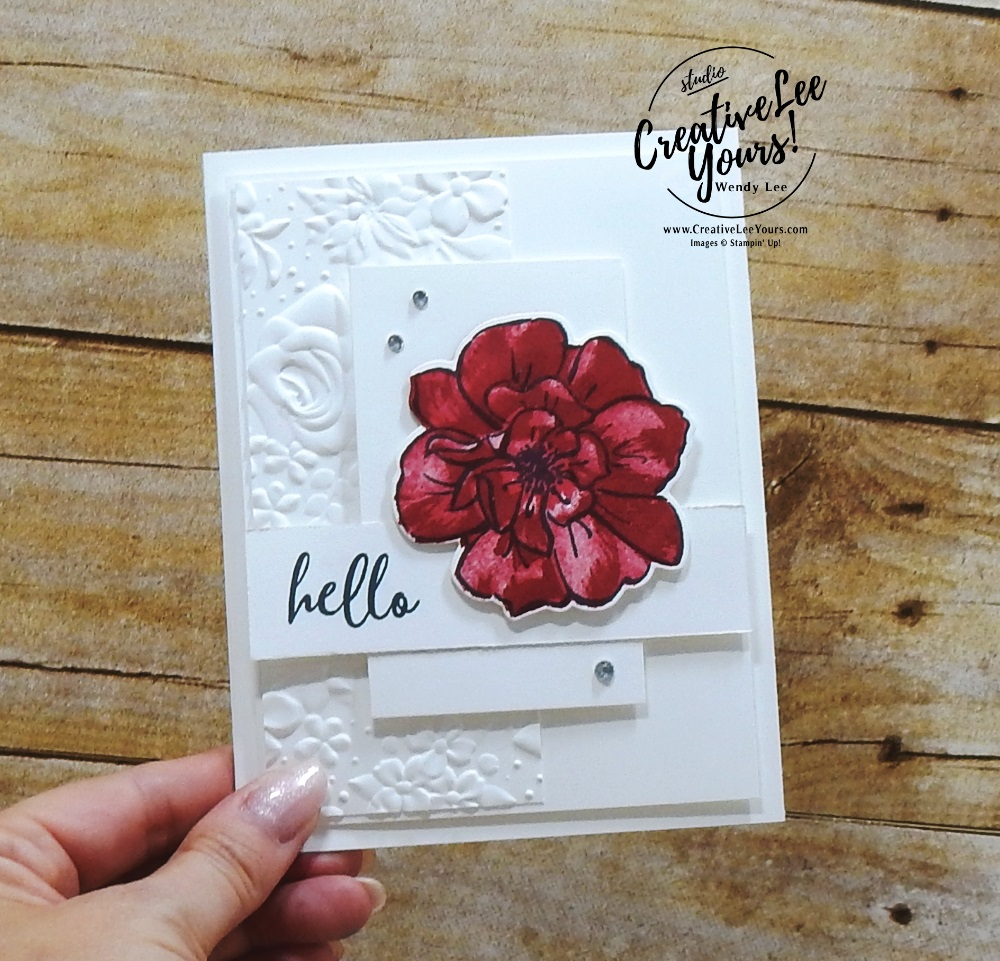 Simple Rose by Wendy Lee, Tutorial, card club, stampin Up, SU, #creativeleeyours, hand made card, technique, 2 step stamping, roses, friend, birthday, hello, thanks, flowers, celebration, birthday, stamping, creatively yours, creative-lee yours, To A Wild Rose stamp set, Wild Rose dies, DIY, FMN, forget me knot, class, card club, technique, country floral, emboss, training blog hop, business opportunity