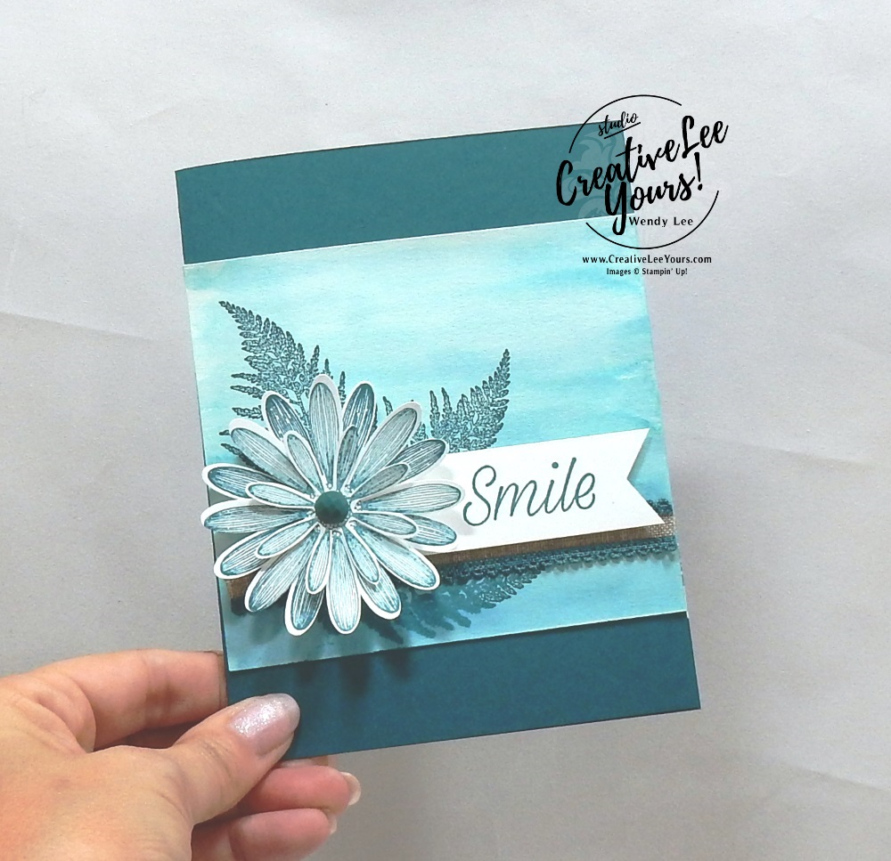 Smile by wendy lee, Stampin Up, #creativeleeyours, creatively yours, creative-lee yours, stamping, paper crafting, handmade, all occasion cards, class, friend, daisy lane stamp set, diemonds team swap,  encouragement, embossing, flowers, printable tutorial, watercolor wash