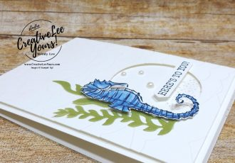 Seaside Spray Seahorse, 2019 2020 annual catalog, 2019-2021 In Colors, club, Wendy Lee, stampin up, papercrafting, #creativeleeyours, creativelyyours, creative-lee yours, SU, pattern paper, accessories, seahorse, beach, summer fun, stampin up, DSP, ink, new colors