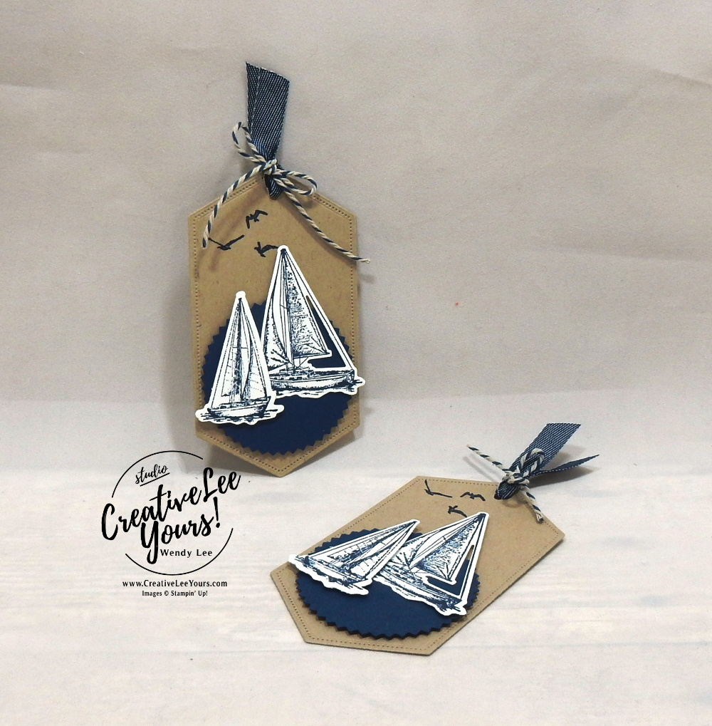 Sail Away Tag by wendy lee,  stampin up, SU, stamping, papercrafting, #creativeleeyours, creativelyyours, creative-lee yours, sailing home stamp set, smooth sailing dies, SU, business opportunity, DIY, fellowship, rubber stamps, hand made, tutorial,  bingo event, tag, masculine, friend, birthday, hello, nautical, masculine, journey, maritime, bingo, event