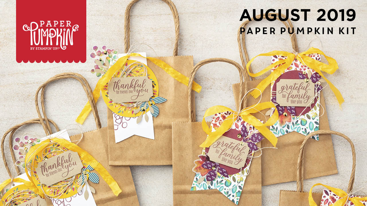 August 2019 The Gift Of Fall Paper Pumpkin Kit, wendy lee, stampin up, handmade cards, rubber stamps, stamping, kit, subscription, #creativeleeyours, creatively yours, creative-lee yours, birthday, celebration, graduation, anniversary, smile, thank you, amazing, fall, leaves, alternate, bonus tutorial, fast & easy, DIY, #simplestamping, video, card kit, masculine, gift bags, treats