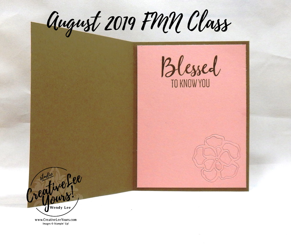 Blessed To Know You by Wendy Lee, Tutorial, card club, stampin Up, SU, #creativeleeyours, hand made card, technique, 2 step stamping, roses, friend, birthday, hello, thanks, flowers, celebration, stamping, creatively yours, creative-lee yours, To A Wild Rose stamp set, Wild Rose dies, embossing, stitched rectangle dies, country floral, DIY, FMN, forget me knot, August 2019, class, card club, technique, patternpaper