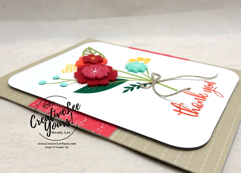 Thank You by Wendy Lee, For the Love of Felt Kit, alternate, tutorial, stampin Up, SU, #creativeleeyours, hand made card, friend, birthday, hello, thanks, flowers, celebration, creatively yours, creative-lee yours, DIY, product tip, felt, kit, special, thankful, project kit, love what you do stamp set, felt flowers