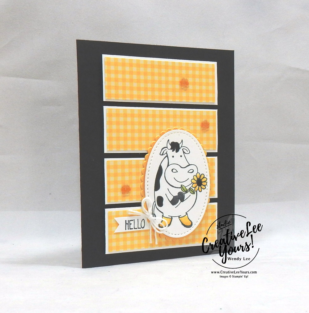 Hello Little One by wendy lee,  stampin up, SU, stamping, papercrafting, #creativeleeyours, creatively yours, creative-lee yours, business opportunity, DIY, fellowship, rubber stamps, hand made, friend, birthday, hello, creativity, accomplishment, share, joy, customize, thanks, celebration, Over the moon stamp set, little elephant stamp set, patternpaper, cows, farm animals, baby, kids, children, daisy, stampers showcase, blog hop