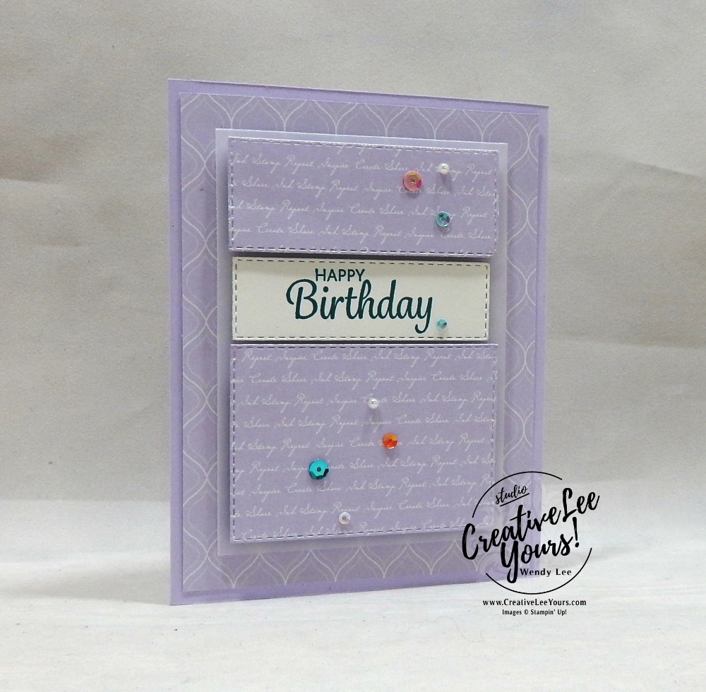 Happy Birthday by wendy lee, 2019 2020 annual catalog, 2019-2021 In Colors, club, Wendy Lee, stampin up, papercrafting, #creativeleeyours, creativelyyours, creative-lee yours, SU, pattern paper, accessories, stampin up, DSP, ink, new colors, tutorial, birthday, celebration, purple posy