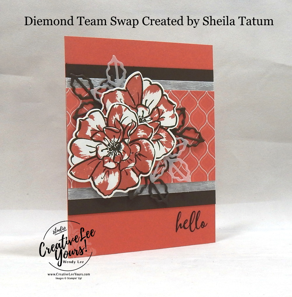 Wild Rose by Sheila Tatum, wendy lee, 2019-2021 In Colors, Wendy Lee, stampin up, papercrafting, #creativeleeyours, creativelyyours, creative-lee yours, SU, pattern paper, 2 step stamping, 3 step stamping, rose, fall, flowers, stampin up, DSP, ink, new colors, diemonds team swap