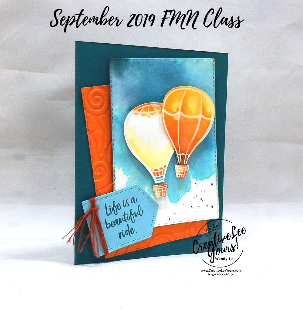 Embossed Watercolor Balloons by Wendy Lee, Tutorial, card club, stampin Up, SU, #creativeleeyours, hand made card, technique, above the clouds stamp set, embossing, emboss resist, hot air balloon punch, fall,  blessed, thankful, grateful, friend, birthday, hello, thanks, celebration, stamping, creatively yours, creative-lee yours, DIY, FMN, forget me knot, September 2019, class, card club, watercolor, masculine