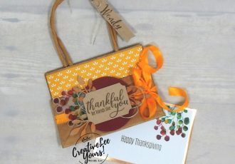 Friendsgiving Place Cards by Wendy Lee, August 2019 The Gift Of Fall Paper Pumpkin Kit, stampin up, handmade cards, rubber stamps, stamping, kit, subscription, #creativeleeyours, creatively yours, creative-lee yours, birthday, celebration, graduation, anniversary, smile, thank you, grateful, make a difference stamp set, amazing, fall, leaves, alternate, bonus tutorial, fast & easy, DIY, #simplestamping, card kit, masculine, gift bags, treats, place cards, thanksgiving