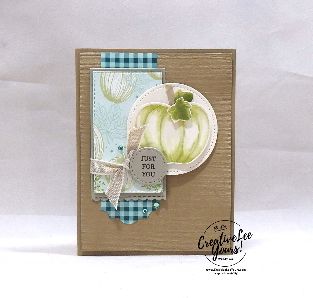 Shimmery Watercolor Pumpkin by Wendy Lee, Tutorial,  stampin Up, SU, #creativeleeyours, hand made card, technique, pumpkin, fall, watercolor, friend, birthday, hello, thanks, celebration, stamping, creatively yours, creative-lee yours, harvest hellos stamp set, rooting in nature stamp set, masculine, DIY, class, kylie bertucci,  holiday catalog, greek isles blog hop, business opportunity, apple builder, stitched rectangles, stitched shapes, stitched labels, stitched be mine, dies, everyday label, just for you, gingham