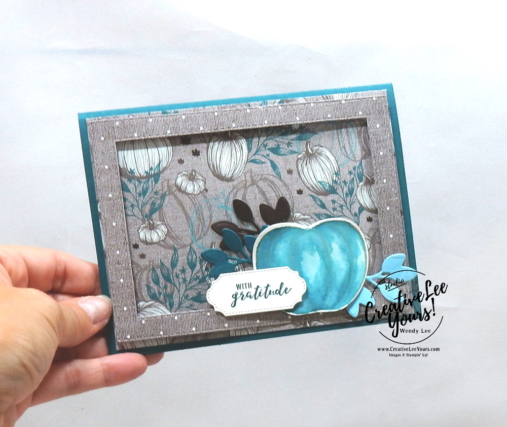 With Gratitude by Wendy Lee, Tutorial,  stampin Up, SU, #creativeleeyours, hand made card, technique, pumpkin, fall, watercolor, friend, birthday, hello, thanks, celebration, stamping, creatively yours, creative-lee yours, harvest hellos stamp set, masculine, DIY, class, holiday catalog, apple builder, stitched rectangles, stitched rectangle, ornate frmaes, dies, gratitude