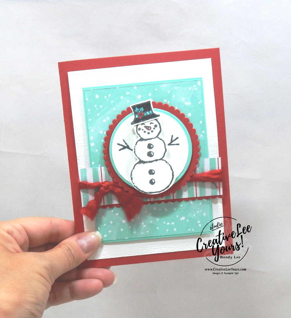 Wobble Snowman by Wendy Lee, Tutorial, card club, stampin Up, SU, #creativeleeyours, hand made card, snowman season stamp set, snowman, snow, winter, christmas, holiday, memories, heartwarming, friend, birthday, hello, thanks, celebration, stamping, creatively yours, creative-lee yours, DIY, FMN, forget me knot, SBONUS card, class, card club, technique, #patternpaper, #loveitchopit
