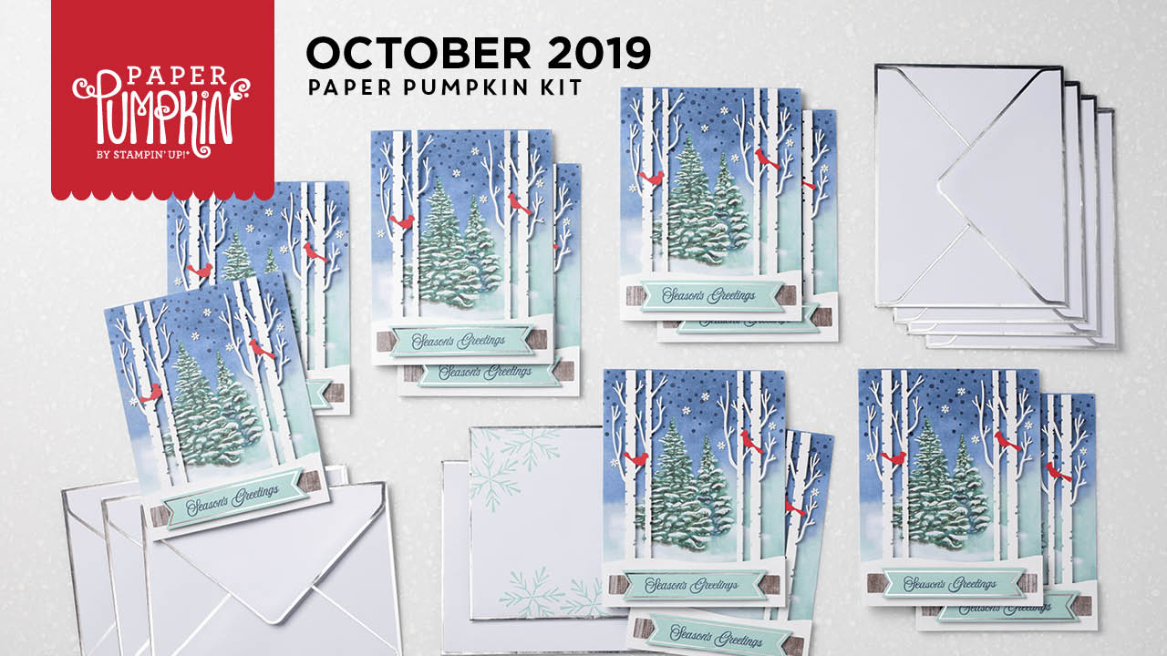Wendy Lee, October 2019 Paper Pumpkin Kit, stampin up, handmade cards, rubber stamps, stamping, kit, subscription, #creativeleeyours, creatively yours, creative-lee yours, birthday, celebration, graduation, anniversary, smile, thank you, grateful amazing, alternate, bonus tutorial, fast & easy, DIY, #simplestamping, card kit,,tags, holiday, Christmas, #simplestamping, cardinal, trees