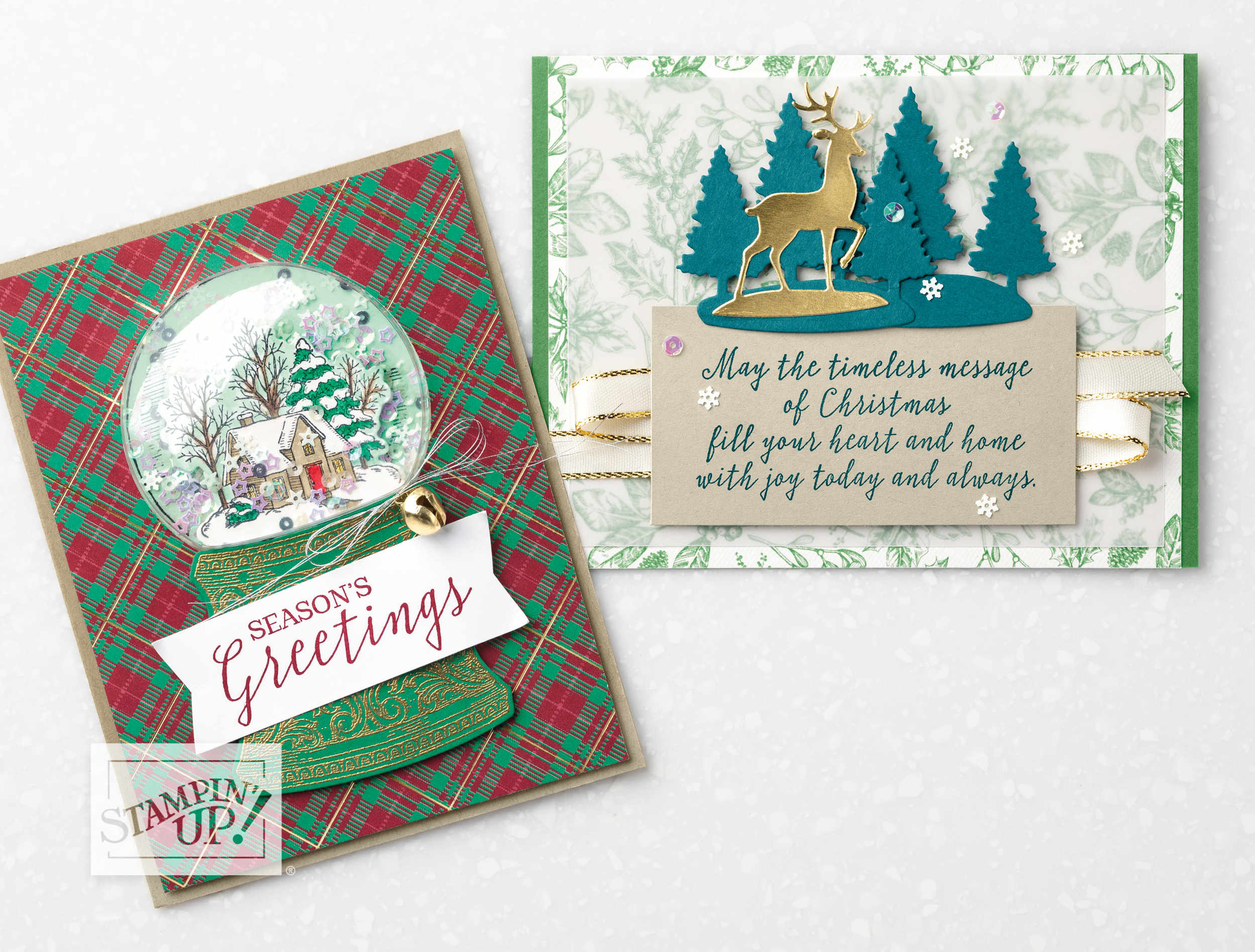 Still Scenes Bundle with Wendy Lee, Video, Tutorial, shaker card, stampin Up, SU, #creativeleeyours, hand made card, technique,still scenes stamp set, die-cut, snow globe scenes dies, holiday, Christmas, friend, celebration, stamping, creatively yours, creative-lee yours, DIY, deer, bears, trees, cottage