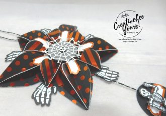 Wendy Lee, September 2019 Bone Appetit Paper Pumpkin Kit, stampin up, handmade cards, rubber stamps, stamping, kit, subscription, #creativeleeyours, creatively yours, creative-lee yours, birthday, celebration, graduation, anniversary, smile, thank you, grateful amazing, halloween, skeleton, alternate, bonus tutorial, fast & easy, DIY, #simplestamping, card kit, masculine, gift bags, treats, ornament, home decor, door hanger